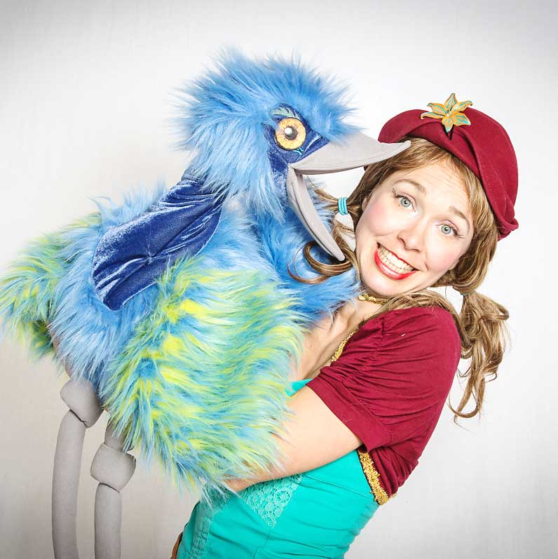 Drea with silly bird puppet